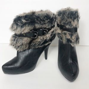 Bakers Luxe Faux Fur Trimmed Healed Bootie Boot